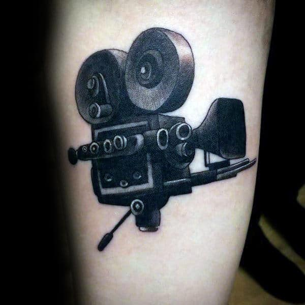 Wonderful Grey Black Camera Tattoo Male Forearms