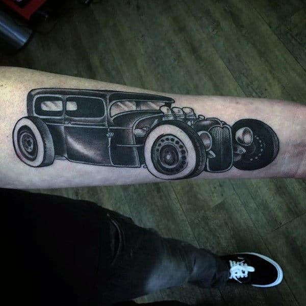 Wonderful Grey Car Hot Tod Tattoo Male Forearms