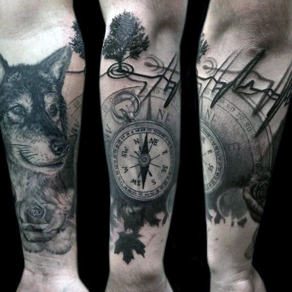 Wonderful Grey Compass And Fox Heartbeat Tattoo Male Full Sleeves