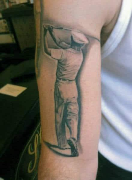 Wonderful Grey Shaded Golfer Tattoo Mens Arm