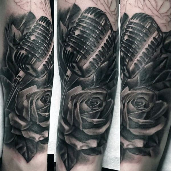Wonderful Grey Shaded Microphone And Rose Tattoo