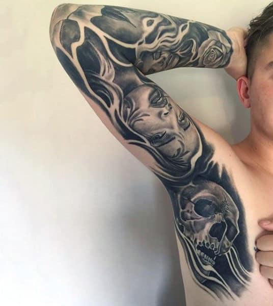Wonderful Grey Tattoo Male Armpit