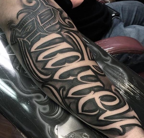 Wonderful Lettering Tattoo Mens Forearms