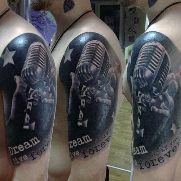 Wonderful Microphone Tattoo Mens Arms With Wordings