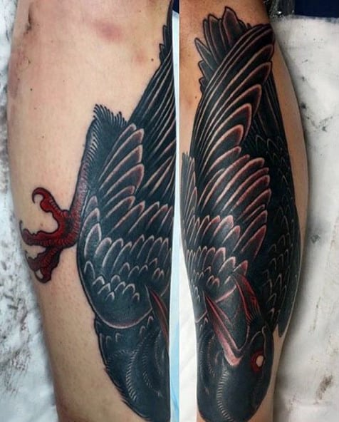 Wonderful Reddish Toned Black Raven Tattoo Mens Calves