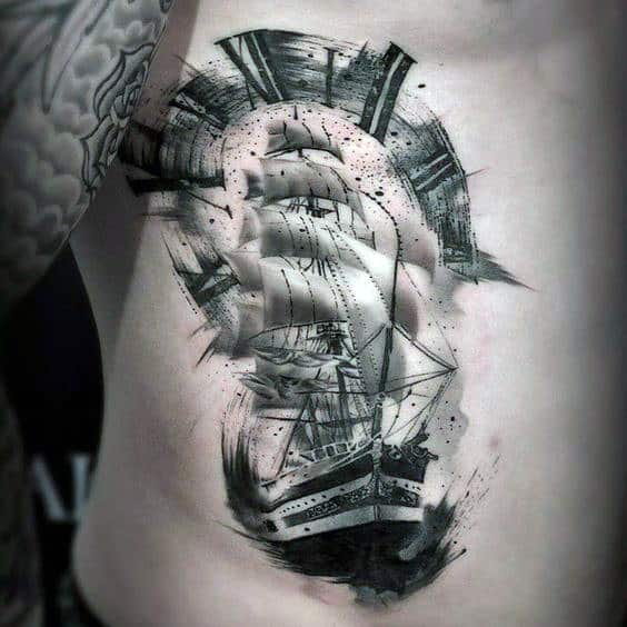 Wonderful Sketch Of Black And Grey Ship Tattoo Mens Torso
