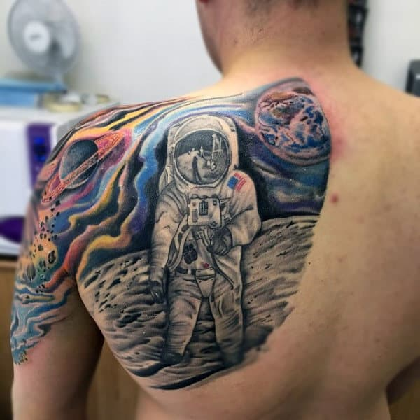 Wonderful Space And Astro Tattoo Mens Back
