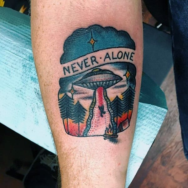 Wonderful Ufo Tattoo Male Forearms