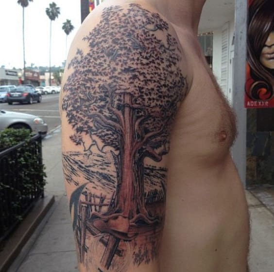 Wonderful Warm Oak Tree Tattoo On Arms For Guys
