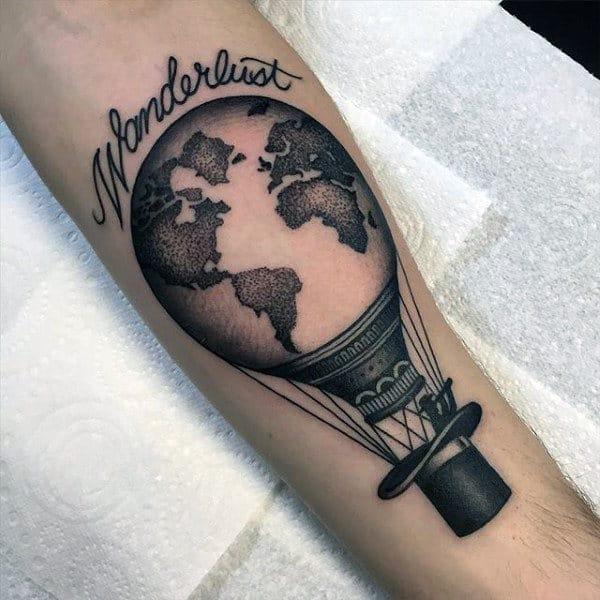 Wonderlust Mens Globe Hot Air Ballon Forearm Tattoos