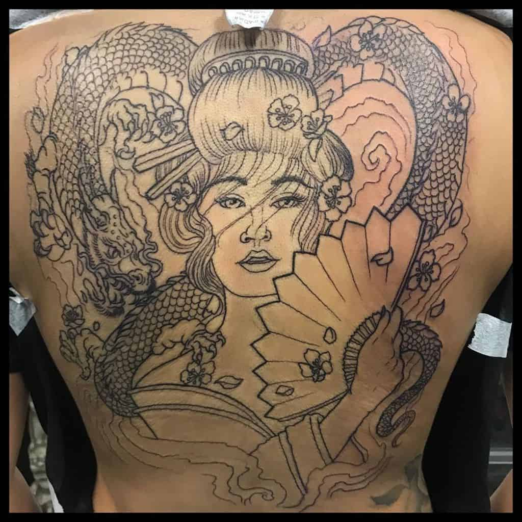 Wonkastyle Dragon Back Piece Geisha Tattoo