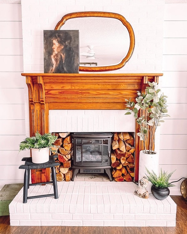 Wood And Brick Fireplace Surround karawardinteriors