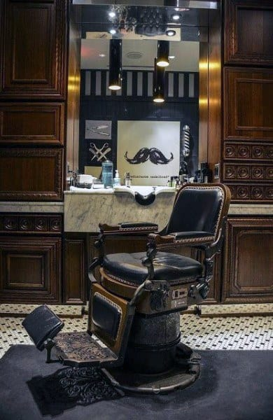 Wood And Marble Barber Shop Designs