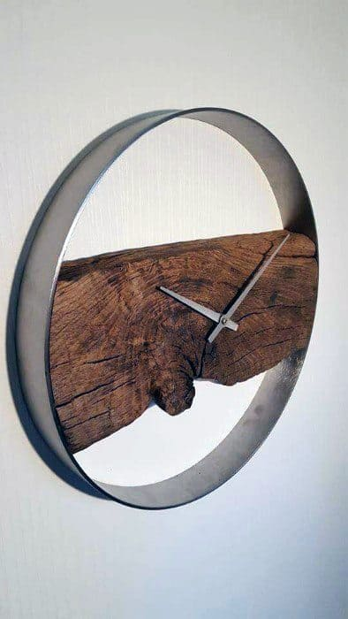 Wood And Steel Clock Bachelor Pad Decor On Wall