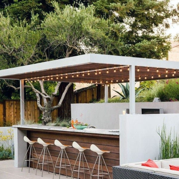 Wood And Steel Outdoor Bar Ideas