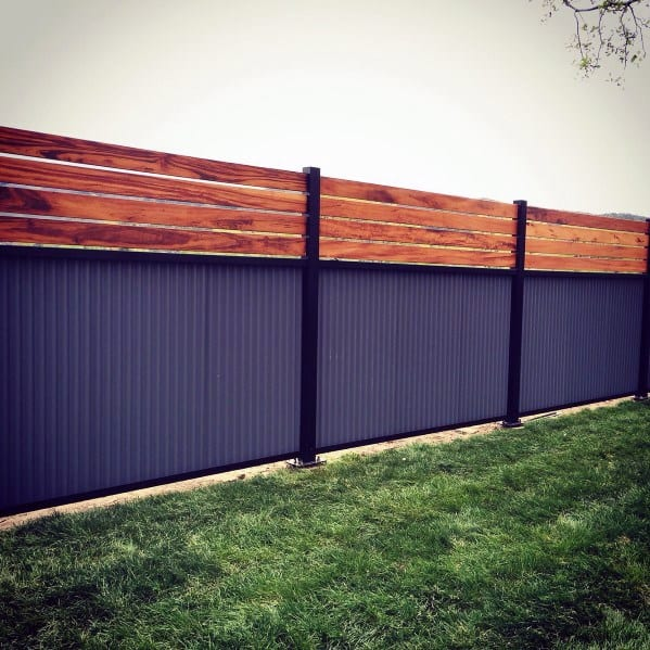 Wood And Steel Privacy Fence Home Designs