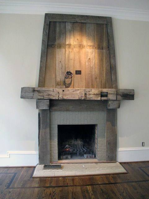 Wood And Stone Fireplace Mantel Design With Hardwood Flooring