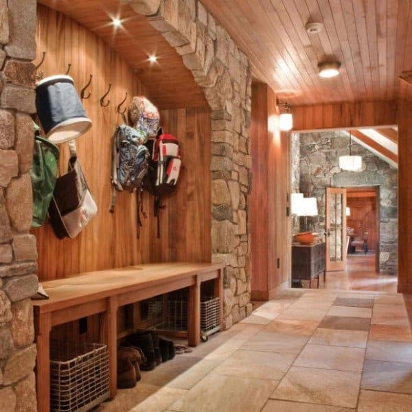 Wood And Stone Veneer Rustic Mudroom Ideas
