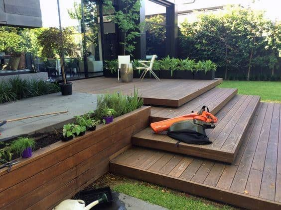 Wood Backyard Deck With Stairs Ideas