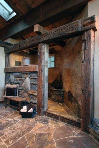 Wood Beam And Stone Shower Rustic Bathroom Ideas