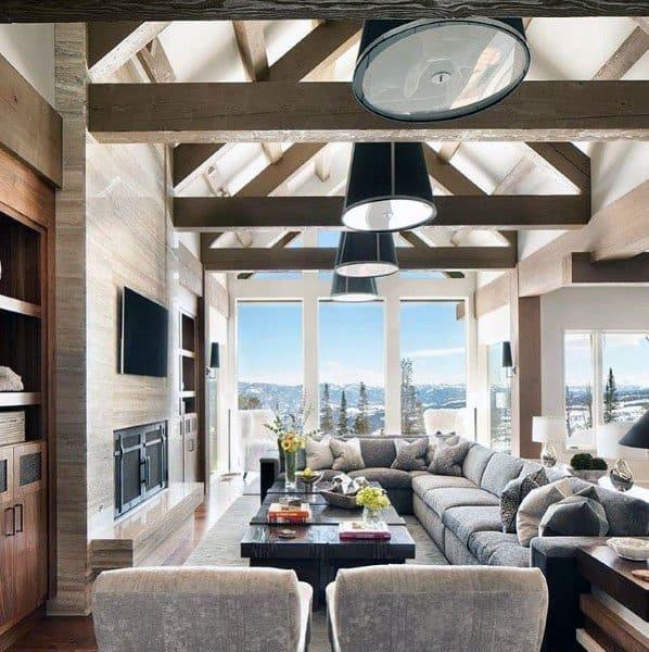 Wood Beam Ceiling Great Room Ideas
