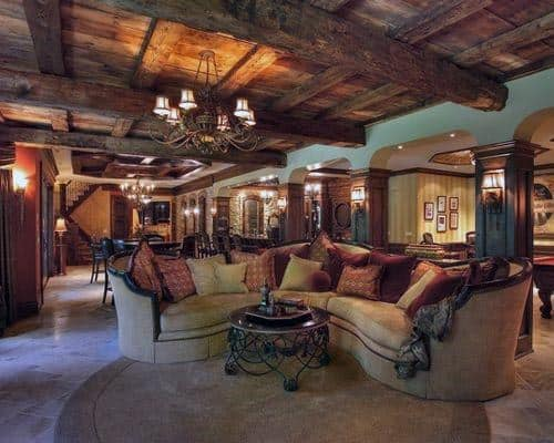 Wood Beam Ceiling Rustic Basement Ideas