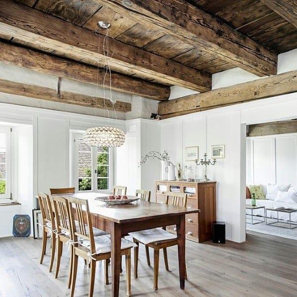 Wood Beam Ceiling Rustic Dining Room Ideas