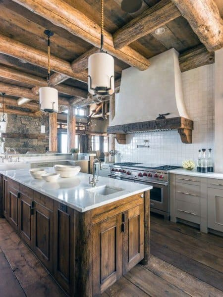 Wood Beam Ceiling With White Granite Countertops Rustic Kitchen Ideas