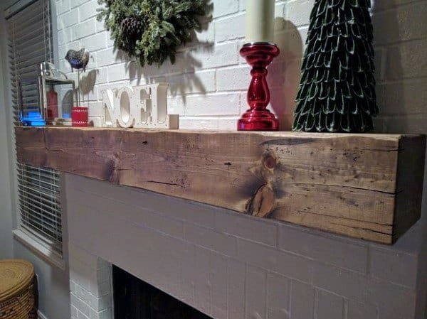 Wood Beam Fireplace Mantel Design With Painted Brick