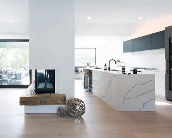Wood Beam Kitchen Corner Fireplace Design