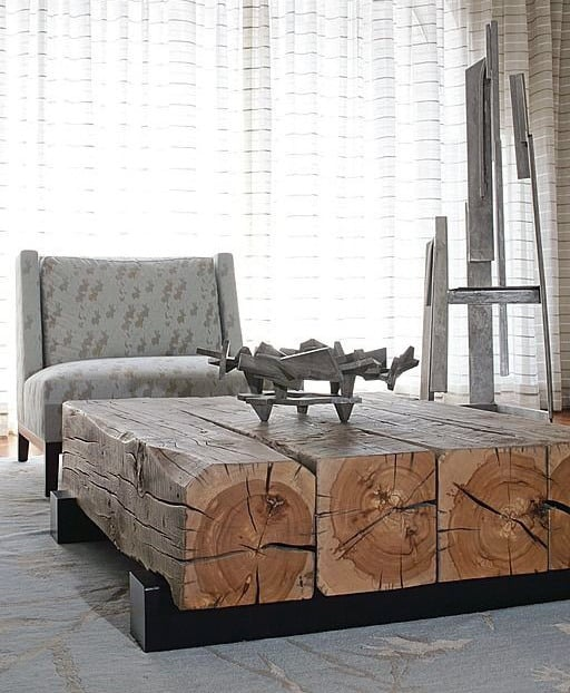 Wood Beam Low Man Cave Furniture Coffee Table Ideas For Guys