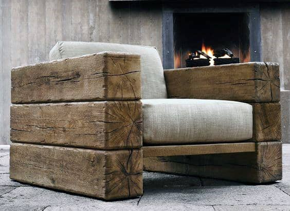 Wood Beam Man Cave Chairs