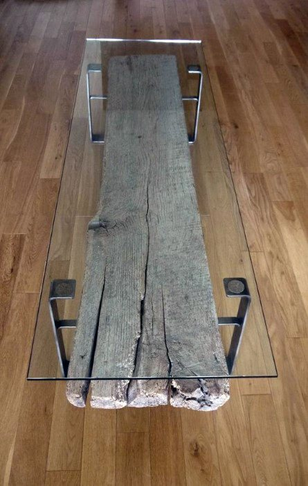 Wood Beam With Glass Guys Bachelor Pad Furniture Coffee Table Ideas