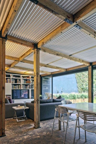 wood beams and steel metal home rustic ceiling ideas - Rustic Ceiling Ideas