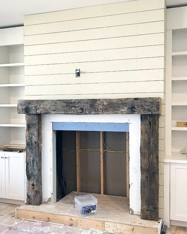 Wood Beams Fireplace Mantel Design