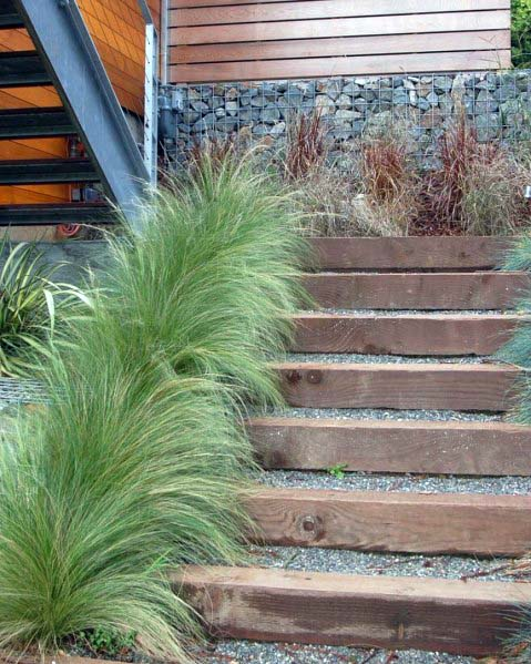 Wood Beams Gravel Landscaping Home Ideas Steps