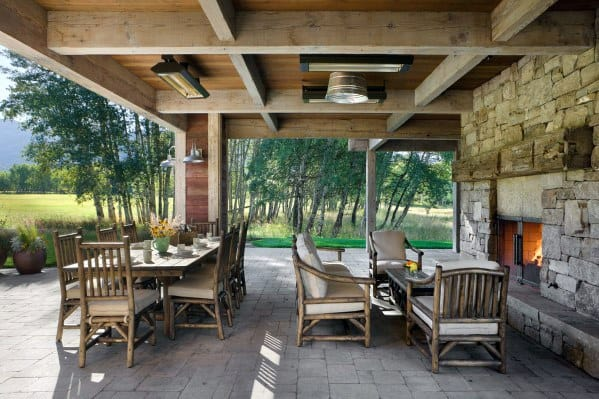 Wood Beams Porch Ceiling Cool Outdoor Ideas