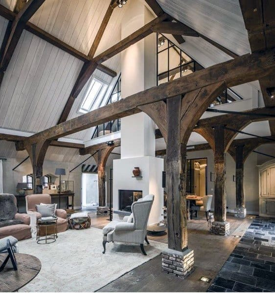 Wood Beams Rustic Living Room Ideas