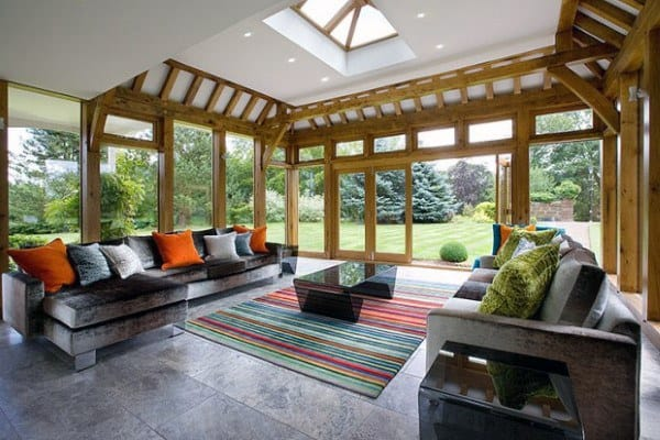 Wood Beams With Drywall Sunroom Ideas