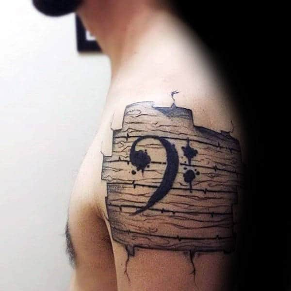 Wood Beard Music Note Mens Upper Arm Tattoos