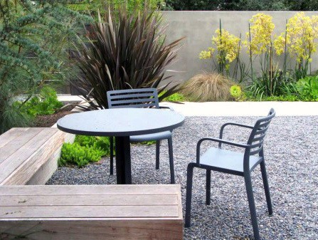 Wood Bench Seats Impressive Gravel Patio Ideas