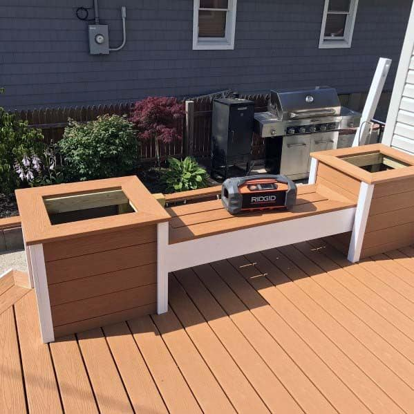 Wood Bench With Built In Planters Ideas