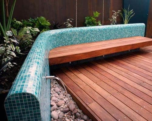 Wood Bench With Built In Water Feature Tile Back Design Ideas
