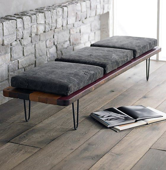 Wood Bench With Pads Man Cave Decor