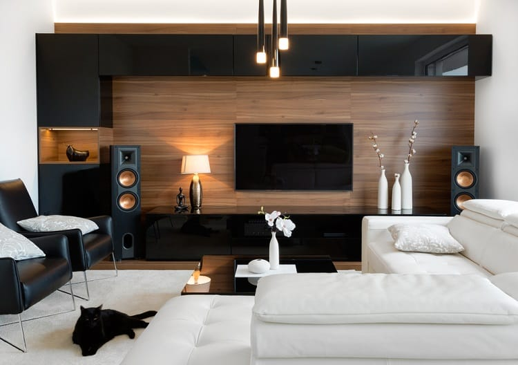 Wood Black Wall Entertainment Center
