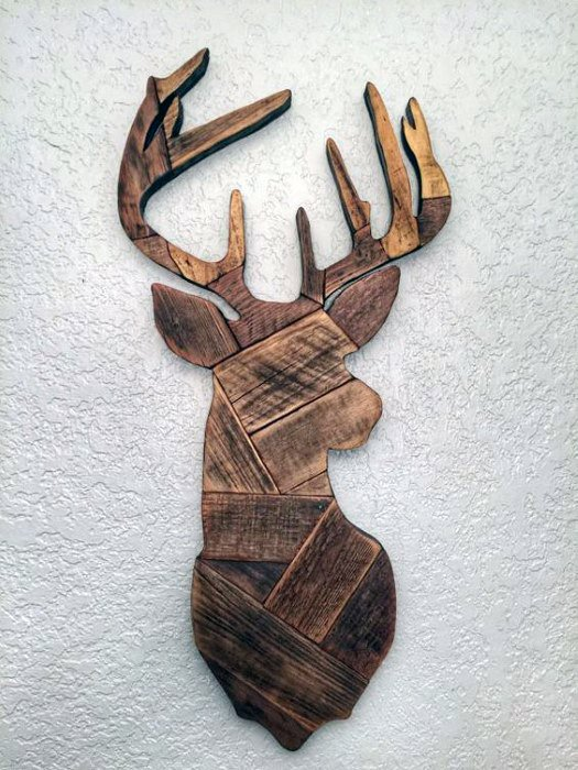 Wood Block Deer Head Cheap Man Cave Ideas For Wall Art