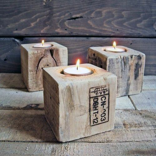 Wood Block Square Candle Holders Cheap Man Cave Ideas