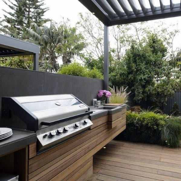 Wood Board Built In Grill Ideas