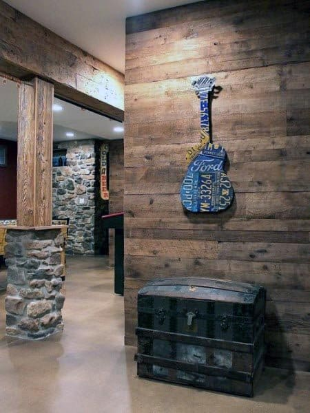 Wood Board Walls With Column Post Beam Stone Wrap Rustic Basement Ideas