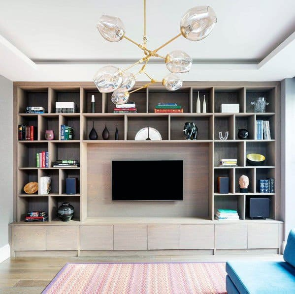 Wood Bookcase With Decor Objects Excellent Interior Ideas Tv Wall